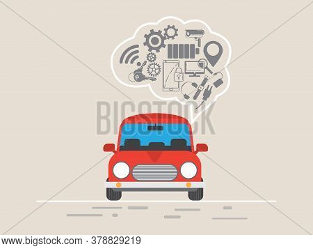 Thin Line Flat Design Of Driverless Car Technology Features,modern Vector Illustration Concept, Isol