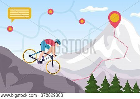 Mountain Bike Competition, Biking Extreme Sport Ride Vector Illustration. Downhill Cycling. Man Bike