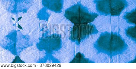 Seamless Water Color Pattern. Indigo Vivid Dyed Canvas. Background Seamless Water Color Pattern. Rai