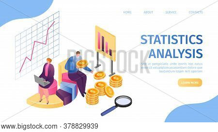 Statistic Analysis, Data Marketing And Management Report Landing Page Vector Illustration. Process R