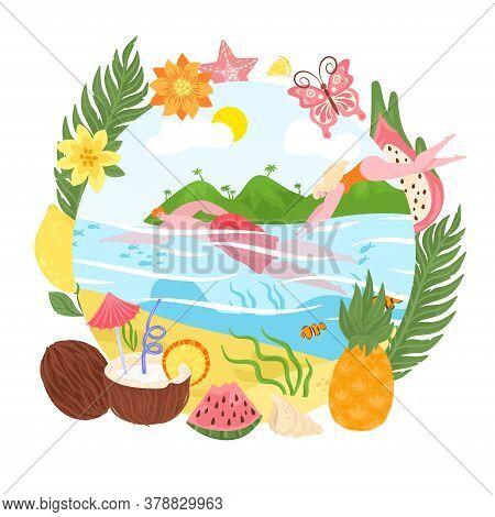 Summer Vacation Concept, Tropical Island, Travel, Sand Beach Season And Swimming Flat Vector Illustr