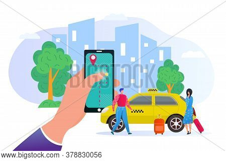 Booking Taxi Online Via Mobile Application In Phone Flat Vector Illustration. City Skyscrapers, Pass