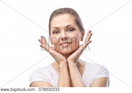 Happy Pretty Woman. Hands Near Face. Skincare Concept. Home Morning Routine. Clean Skin. Cream Cosme