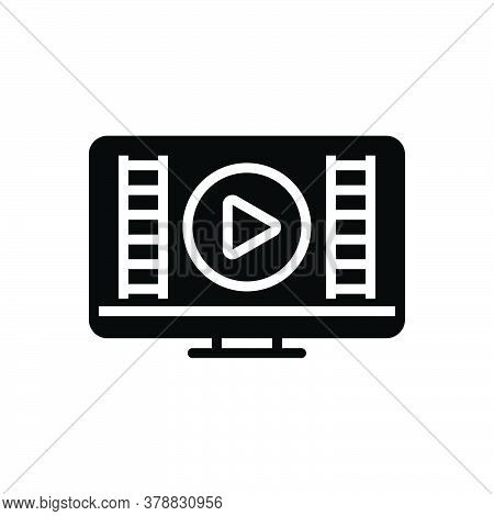 Black Solid Icon For Video Show Demonstrate Player Display Publicity Blurb Broadcasting Streaming Mu