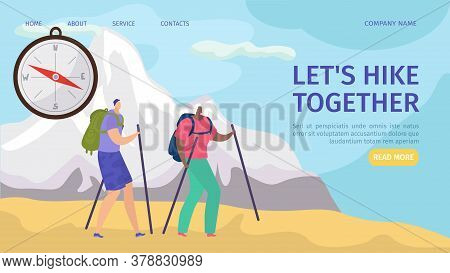 Hike Together, Travelling And Hiking For Tourists Adventure In Nature Website Landing, Vector Illust