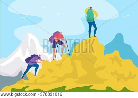 Hiking Mountain, Travelling For Tourists Adventure In Nature Concept Vector Illustration. Travelling