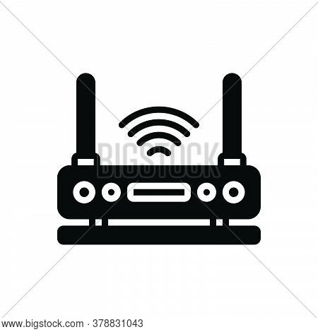 Black Solid Icon For Wifi Router Connection Wireless Internet Communicationdigital Modem Signal Ante