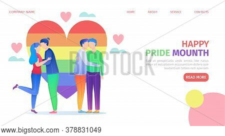 Lgbt Pride Community, Rainbow Coloured Heart And Homosexual Couples Landing Page Vector Illustration