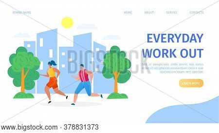 Workout, Man And Woman Athletes Running In Park, Sport, Fitness Training And Healthy Body Lifestyle