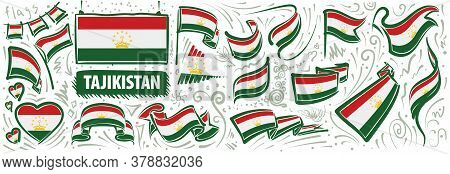 Vector Set Of The National Flag Of Tajikistan In Various Creative Designs