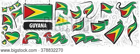 Vector Set Of The National Flag Of Guyana In Various Creative Designs