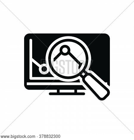 Black Solid Icon For Research Investigation Checkout Quest Disquisition Analysis Magnifier Graph Mag
