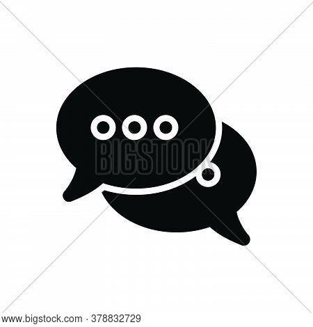 Black Solid Icon For Speech-bubbles Talk Speak Chat Gossip Communication Message Conversation Discus