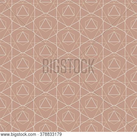 Repeat Abstract Vector Continuous, Grid Pattern. Repetitive Modern Graphic Rhombus Lattice Texture.
