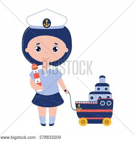 Girl In The Captain Cap With The Toy Lighthouse And Cruise Liner On Wheels. Vector Child In The Sail