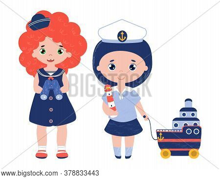 Vector Set Of Characters. Sailor Girls In Cute 1950s Fashion Dress. Kids With Marine Toys. Child Hol