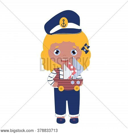 Vector Happy Girl In The Captain Cap With The Toy Ship. Sailor Suit For Kids In Blue Color. Blond Ch