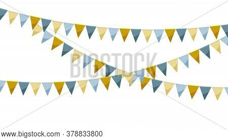 Paper Bunting Party Flags Isolated On White Background. Carnival Garland With Gold Silver Flags. Dec