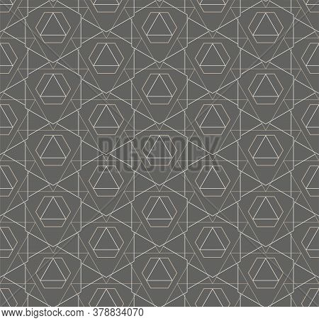 Continuous Black Vector Hex, Decor Pattern. Repeat Elegant Graphic Technology Swatch Texture. Seamle