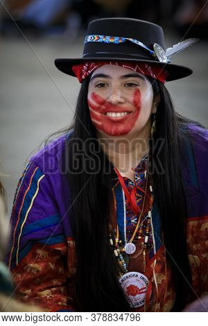 San Francisco, Usa - February 08, 2020: Native American Woman At Pow Wow With Face Paint In Support