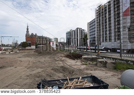 Antwerp, Belgium, July 19, 2020, The Redevelopment Of The Scheldt Quays, The Excavations With The Sh