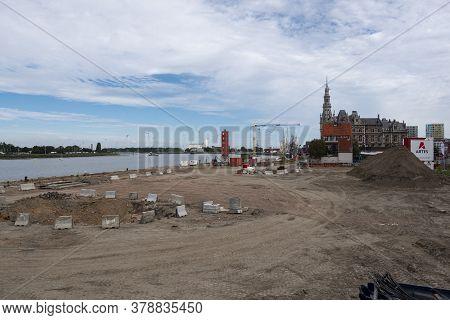 Antwerp, Belgium, July 19, 2020, The Redevelopment Of The Scheldt Quays, The Excavations
