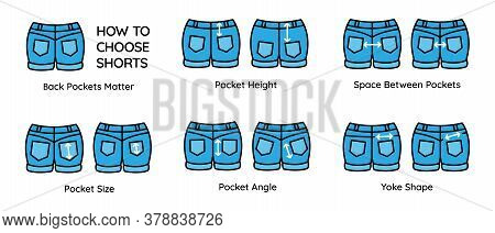 Tips And Tricks For Choosing Denim Shorts According To Position, Shape, Angle And Size Of Back Pocke