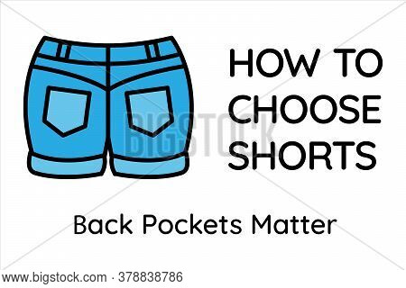 How To Choose Shorts. Color Outline Icon Rear View Of Summer Blue Denim Shorts With Rolled Up Legs.