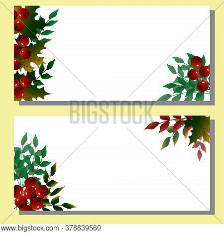 Horizontal Postcard On The Theme Of Autumn. Autumn Leaves And Berries. Postcard Template For Gifts,