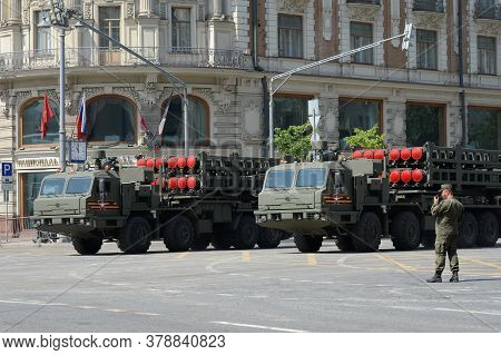 Moscow, Russia - June 20, 2020:the Launcher Of The S-350 `vityaz` Air Defense System On Tverskaya St