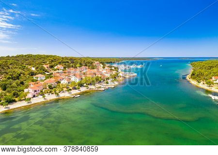 Town Of Veli Rat On Dugi Otok Island On Adriatic Sea In Croatia, Aerial View From Drone, Beautiful S
