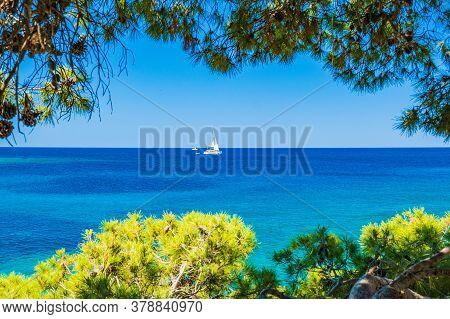Adriatic Sea In Croatia, Dugi Otok Island, Sailing Boat On Sea In Bay On Veli Rat, View Through The
