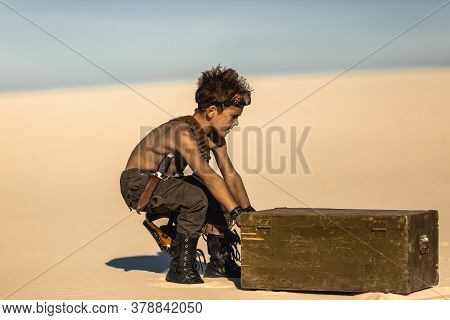 Post-apocalyptic Boy Outdoors In The Desert. Nuclear Post-apocalypse. Life After Doomsday Concept. D