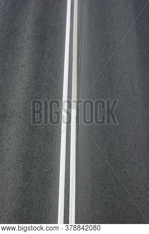 Road Markings Double Solid, Top View Of The Paved Highway