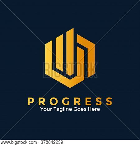Progress Logo Vector With Monogram Design Style. Business Marketing Finance Logo. Concept Of Growth