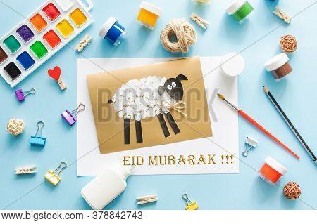 6 Diy Eid Al Adha Lamb Sheep Baby Craft On Blue Background. Gift Idea, Decor Eid Al Adha. Step By St