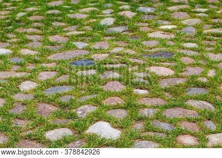 Pavement Of Granite Cobblestones Overgrown With Green Grass