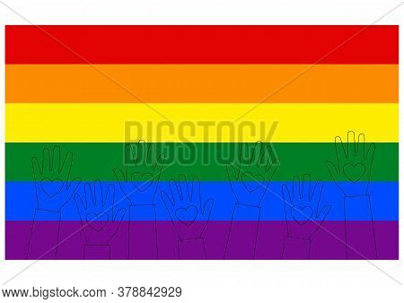 Lgbt Flag. Raised Up Hands Of People With Hearts In Outline Style. Template Design, Vector Illustrat