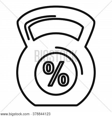 Kettlebell Percent Online Loan Icon. Outline Kettlebell Percent Online Loan Vector Icon For Web Desi