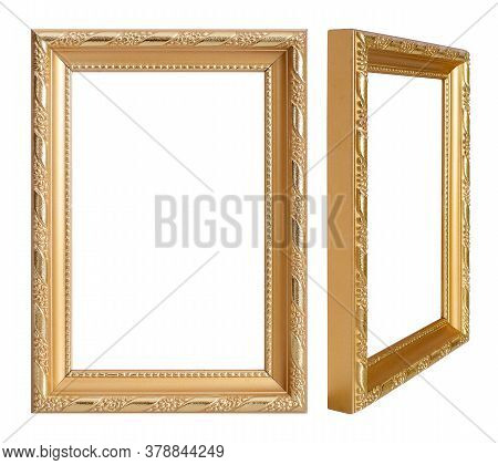 Golden Frame For Paintings, Mirrors Or Photo In Frontal And Perspective View Isolated On White Backg