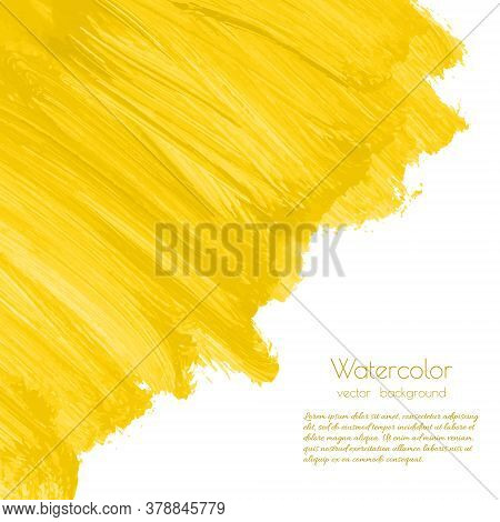 Yellow, Golden Watercolor Texture Background With Dry Brush Stains, Strokes, Spots, Splash, Blots Is