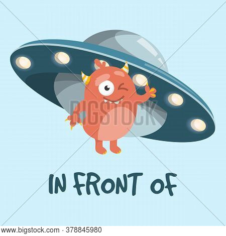 Learning Preposition In Front Of Vector Isolated.