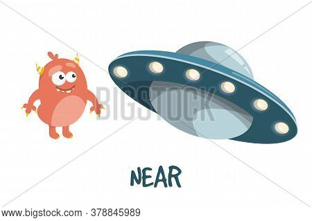 Learning Preposition Near Vector Isolated. Alien And Ufo