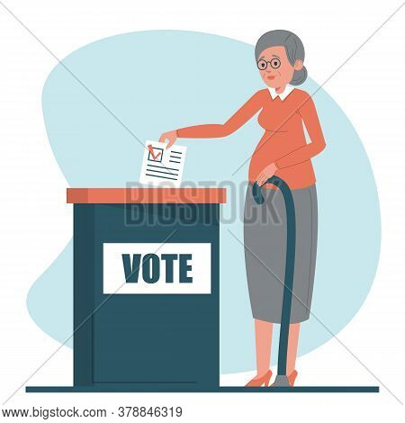 Senoir Woman Voting For A President Vector Isolated