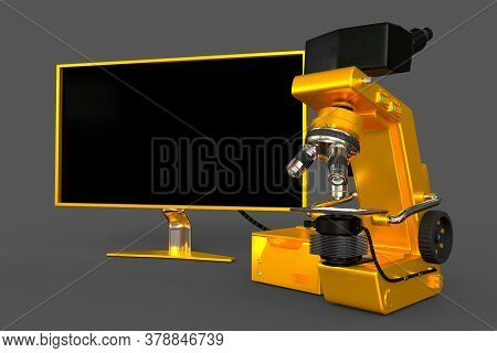 Golden Electronic Microscope, Cpu Box And Blank Monitor Isolated, Realistic 3d Illustration Of Objec