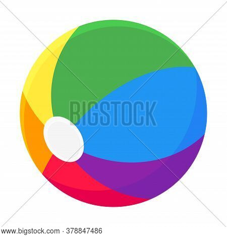 Inflatable Bouncing Beach Ball Flat Style Design Vector Illustration Icon Sign Isolated On White Bac