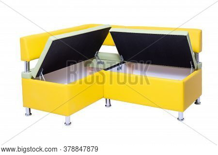 Yellow Leather Office Sofa With Opened Hidden Wooden Containers Inside, Metal Chrome Legs Isolated O