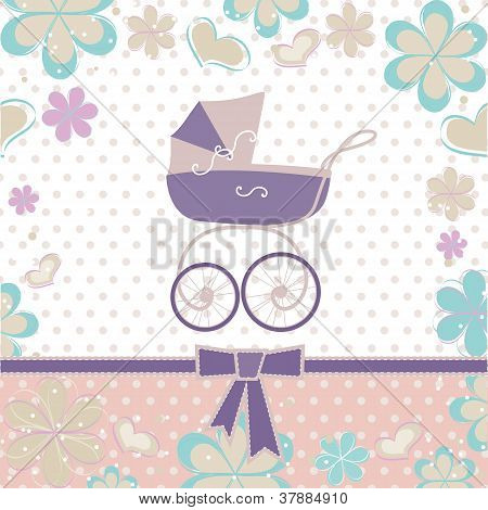 greeting card with a baby carriage