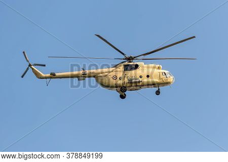 Ismailia, Egypt - November 5, 2017: A Mil Mi-8 Hip Helicopter Patrolling The Suez Canal In Egypt.