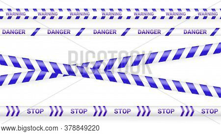 Blue Police Tape, Crime Danger Line. Caution Police Lines Isolated. Warning Tapes. Set Of Blue Warni